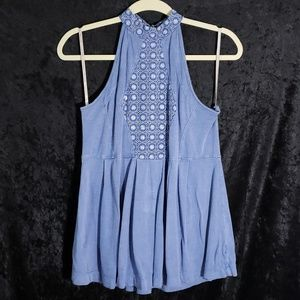 !!SALE 5 FOR 25!! M Staccato Blue Halter Blouse
